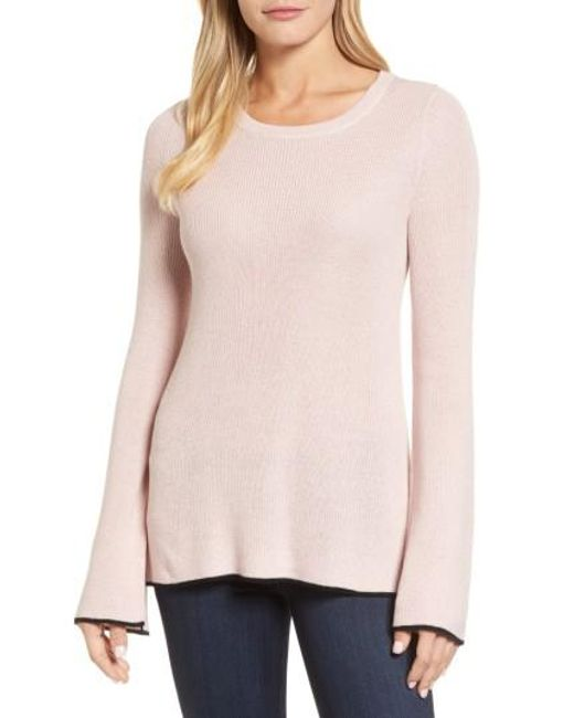 Vince Camuto | Pink Tipped Bell Sleeve Sweater | Lyst