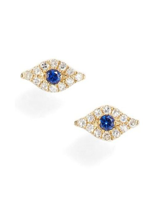 EF Collection | Metallic Evil Eye Diamond & Sapphire Stud Earrings | Lyst