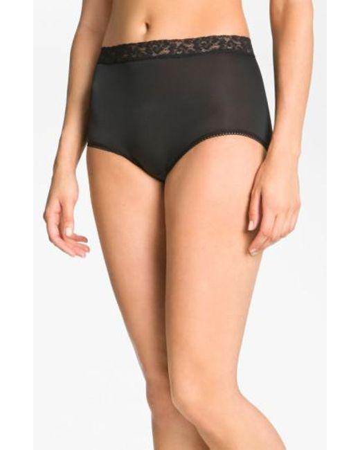 Wacoal | Black 'bodysuede' Lace Waist Briefs | Lyst