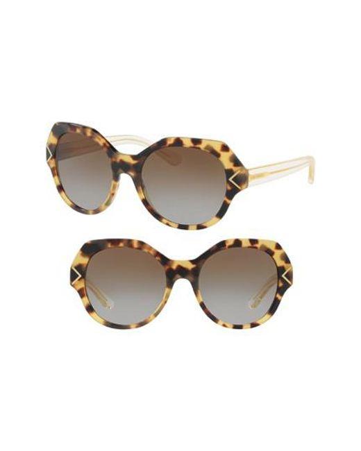 Tory Burch   Brown 53mm Polarized Gradient Geometric Sunglasses - Spotty/ Tortoise   Lyst