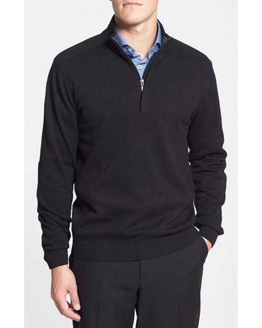 Cutter & Buck | Black 'broadview' Cotton Half Zip Sweater for Men | Lyst