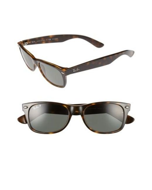Ray-Ban | Brown Small New Wayfarer 52mm Polarized Sunglasses | Lyst