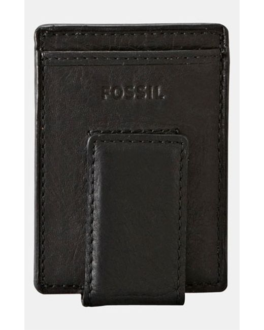 Fossil | Black 'ingram' Leather Magnetic Money Clip Card Case for Men | Lyst