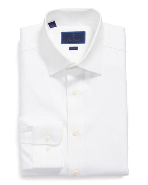 David Donahue | White Trim Fit Dress Shirt for Men | Lyst