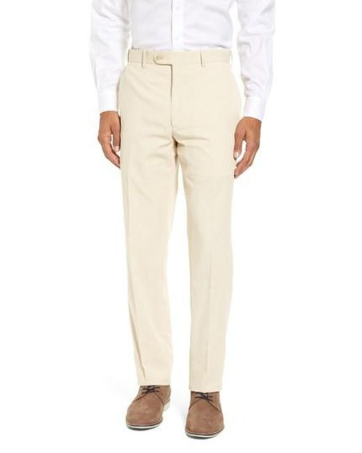 JB Britches | Natural Flat Front Stripe Wool Blend Trousers for Men | Lyst
