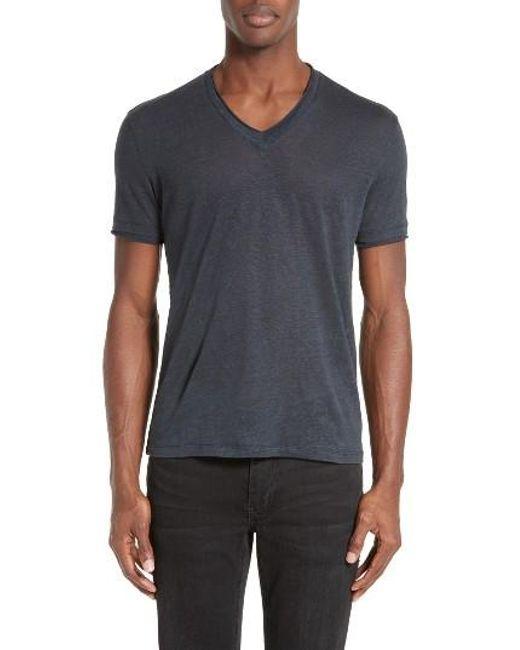John Varvatos | Blue V-neck Linen T-shirt for Men | Lyst