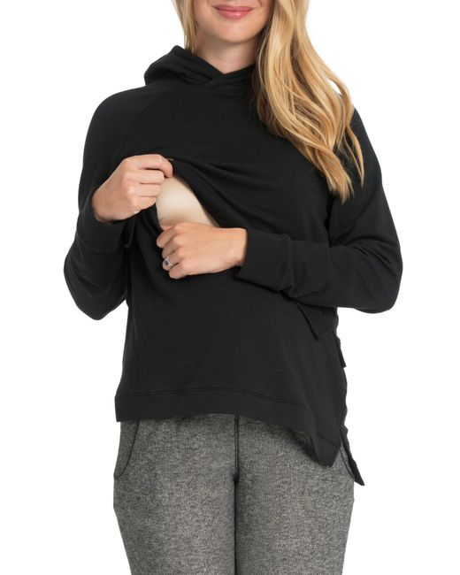 Bun Maternity - Black Asymmetric Maternity/nursing Hoodie - Lyst