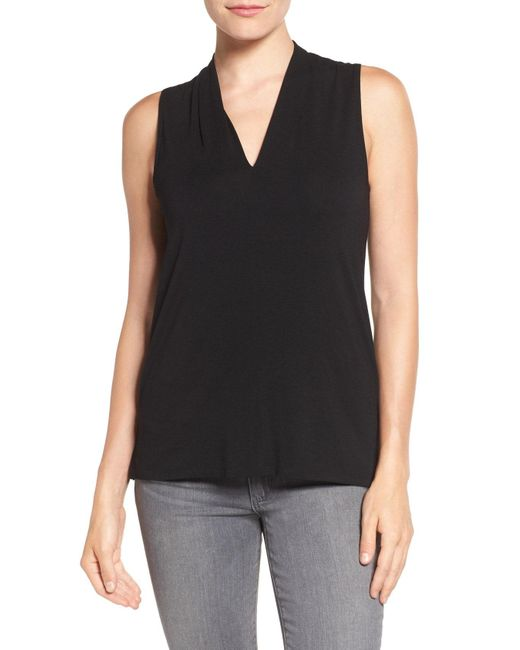 Vince Camuto - Black Sleeveless V-neck Top - Lyst