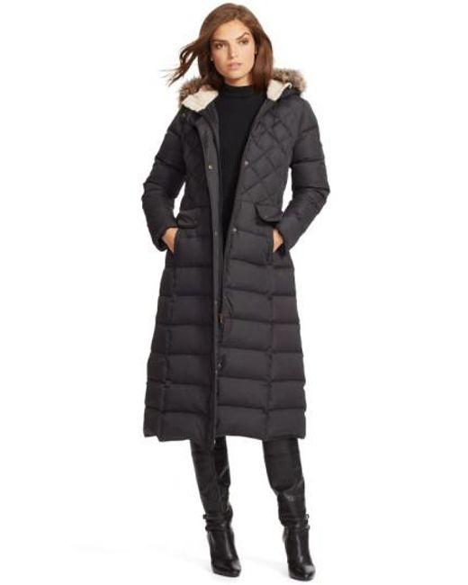 Lauren by Ralph Lauren   Black Faux Fur Trim Hooded Long Down & Feather Fill Coat   Lyst