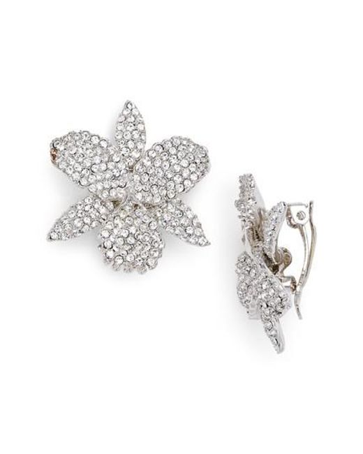 Nina - Metallic Pave Orchid Clip Earrings - Lyst