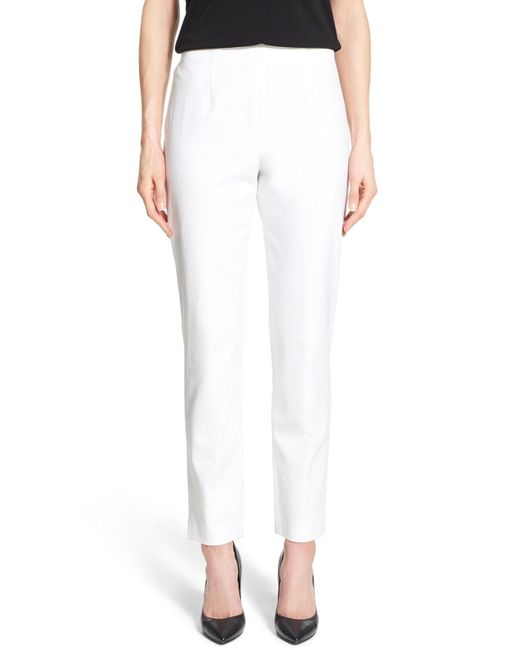 Ming Wang - White Woven Slim Ankle Pants - Lyst