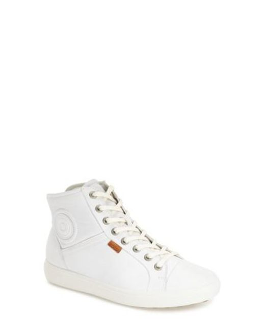 Ecco - White 'soft 7' High Top Sneaker - Lyst