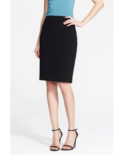 St. John - Black Crepe Marocain Pencil Skirt - Lyst