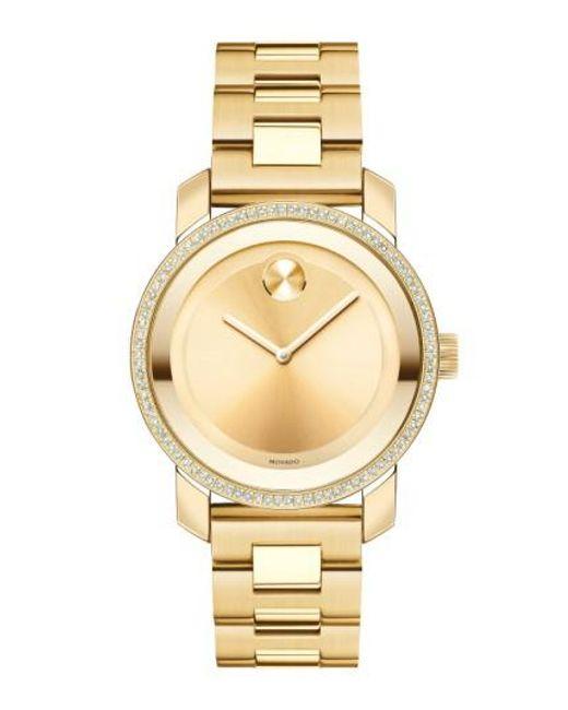 Movado - Metallic 'bold' Diamond Bezel Bracelet Watch - Lyst