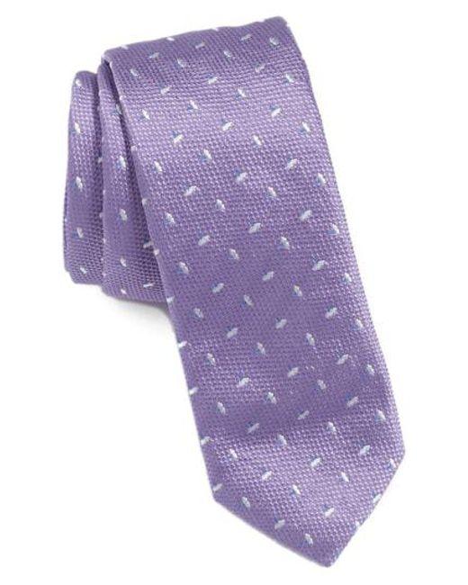 BOSS - Purple Floral Silk Tie for Men - Lyst