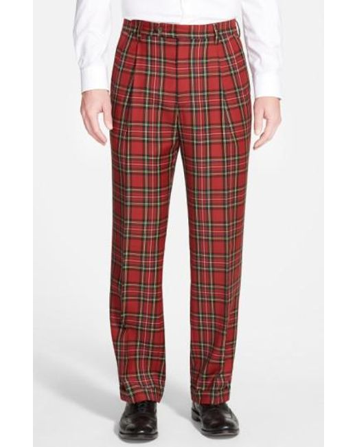 Berle | Red Pleated Plaid Wool Trousers for Men | Lyst