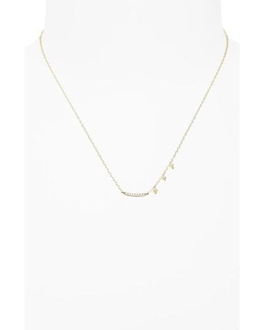 Meira T | Metallic Diamond & Pearl Bar Pendant Necklace | Lyst