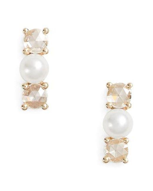 EF Collection | Metallic Mini Pearl & Diamond Stud Earrings | Lyst