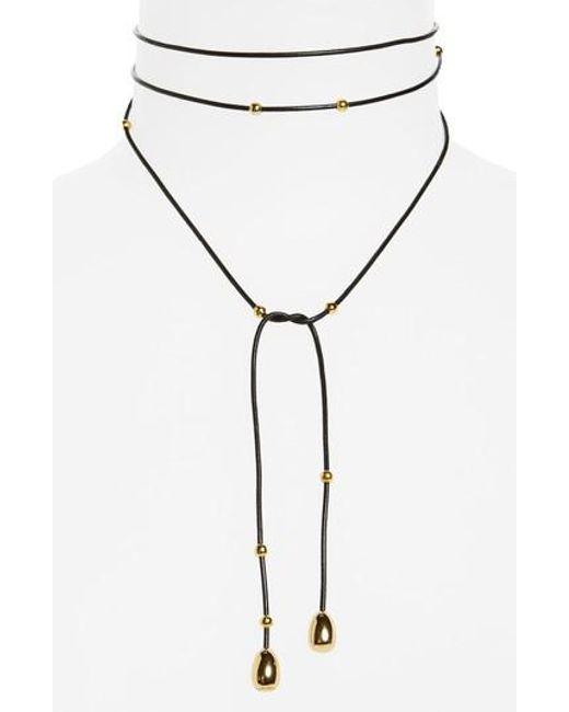 Elizabeth and James | Black Rosa Dottie Convertible Wrap Necklace | Lyst
