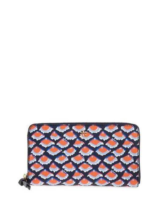 Tory Burch | Blue Kerrington Coated Canvas Zip Around Wallet | Lyst