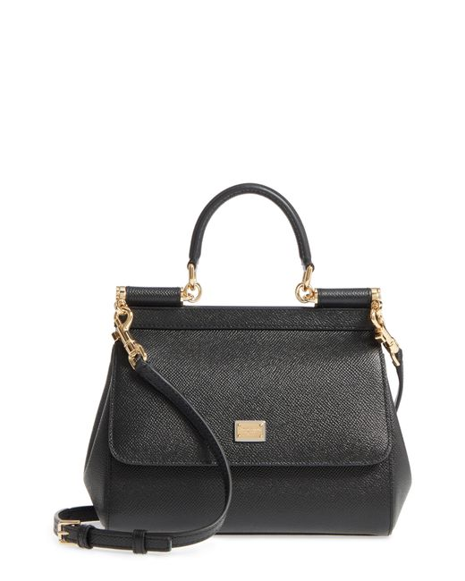 Dolce & Gabbana - Black Small Miss Sicily Leather Satchel - Lyst