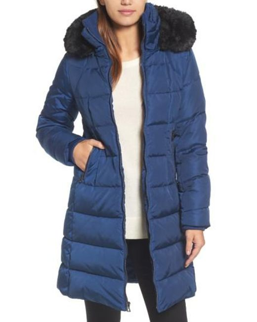 Vince Camuto | Blue Down & Feather Fill Coat With Faux Fur Trim Hood | Lyst