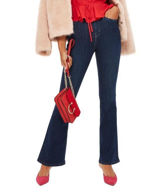 TOPSHOP - Blue Jamie Flared Jeans - Lyst