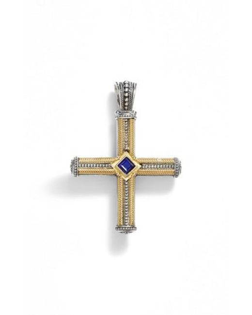 Konstantino   Metallic 'orpheus' Semiprecious Stone Cross Pendant   Lyst