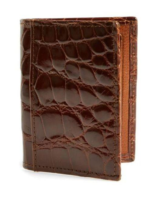 Martin Dingman - Brown 'joseph' Genuine American Alligator Leather Id Wallet - Metallic for Men - Lyst