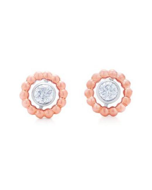 Kwiat | Pink Beaded Diamond Stud Earrings | Lyst