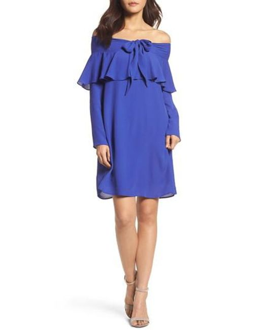 19 Cooper | Blue Off The Shoulder Shift Dress | Lyst