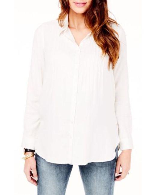 Ingrid & Isabel - White Ingrid & Isabel Pintuck Maternity Shirt - Lyst