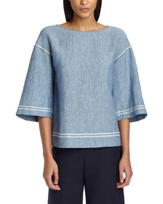 233900b4ec769 Lyst - Lafayette 148 New York Gwendolyn Embroidered Blouse in Blue