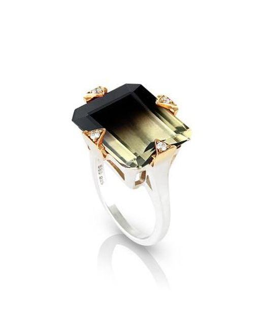 Maniamania - Metallic Cocktail Ring With Diamonds - Lyst