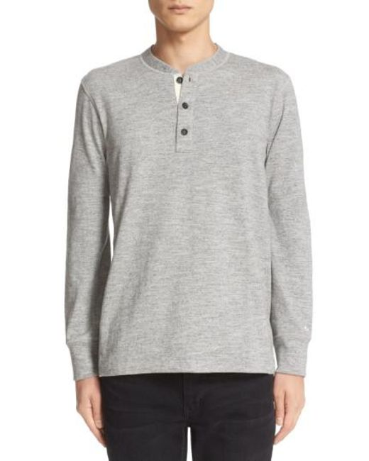 Rag & Bone - Gray Standard Issue Henley for Men - Lyst