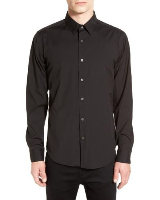 Theory - Black 'sylvain' Trim Fit Long Sleeve Sport Shirt for Men - Lyst