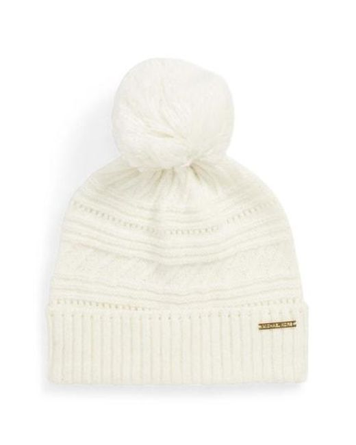 0f9c38b48f6 Lyst - Michael Michael Kors Mix Pompom Beanie - in Natural