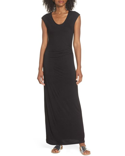 b7fb906ea6 Lyst - Fraiche By J Ruched Jersey Maxi Dress in Black
