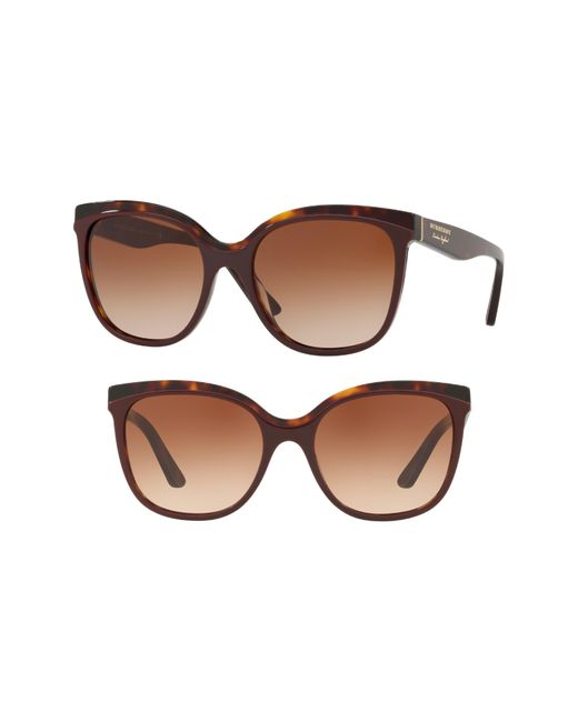 Burberry - Brown Marblecheck 55mm Square Sunglasses - - Lyst