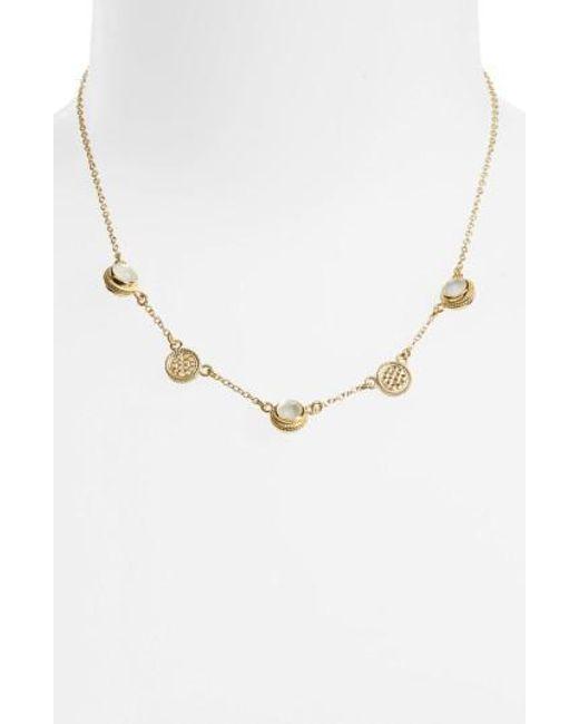 Anna Beck - Metallic Semiprecious Stone Station Necklace - Lyst