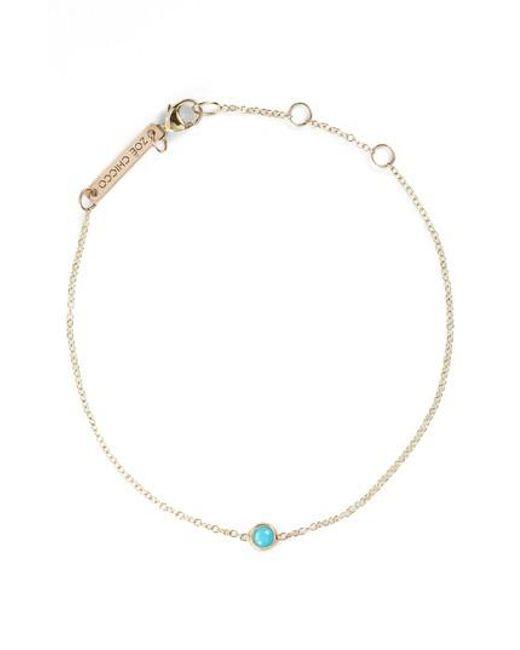 Zoe Chicco - Metallic Turquoise Bezel Line Bracelet - Lyst