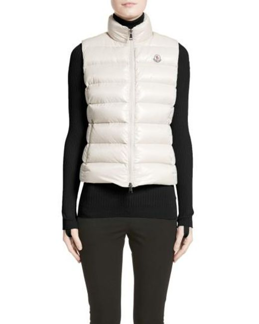 Moncler | White Ghany Water Resistant Shiny Nylon Down Puffer Vest | Lyst