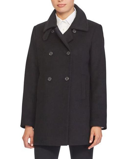 Lauren by Ralph Lauren | Black Double Breasted Peacoat | Lyst