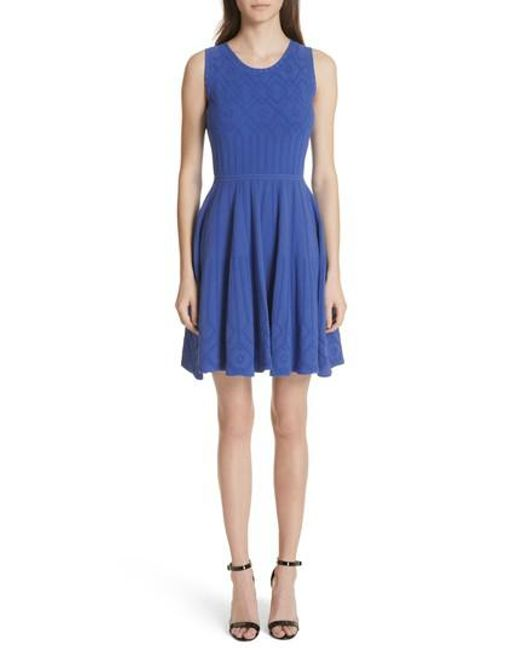 MILLY - Blue Mosaic Texture Knit Fit & Flare Dress - Lyst
