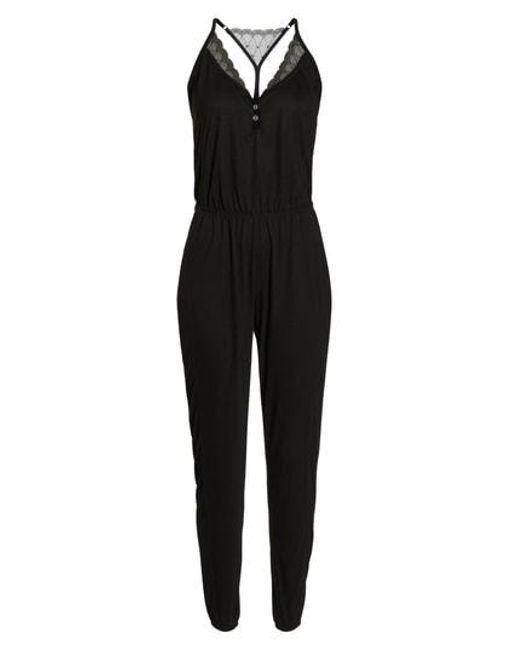 Splendid - Black Romper Pajamas - Lyst