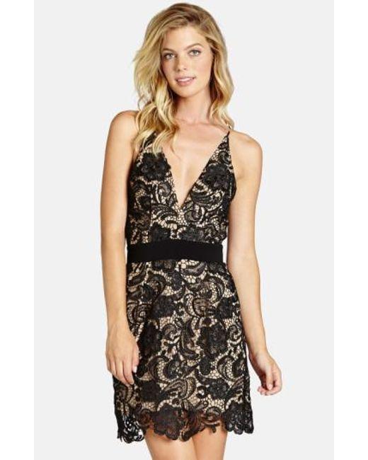 Dress the Population | Black 'Ava' Floral Lace Minidress | Lyst