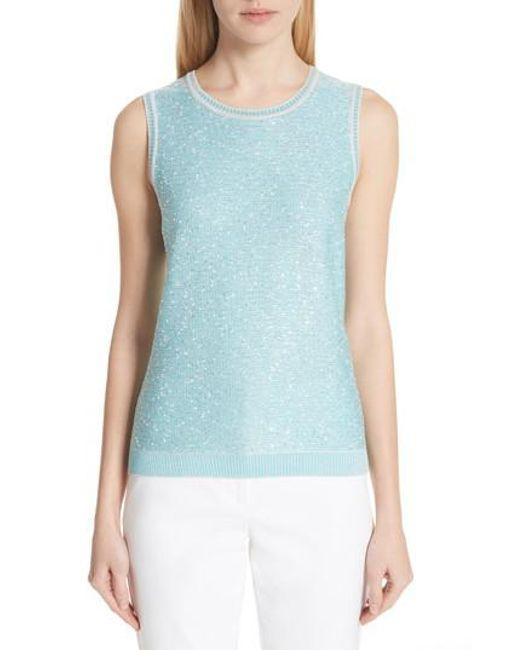 St. John - Blue Flecked Sparkle Knit Shell - Lyst