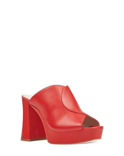Nine West - Red Lisana Platform Slide Sandal - Lyst