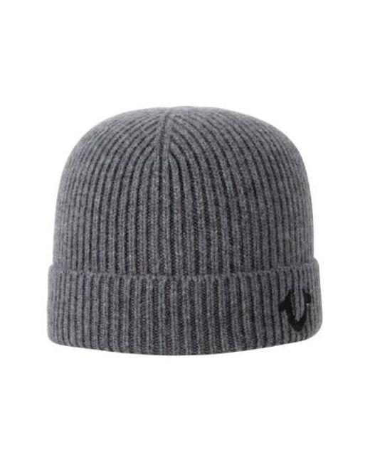 True Religion - Gray Rib Knit Cap - Metallic for Men - Lyst