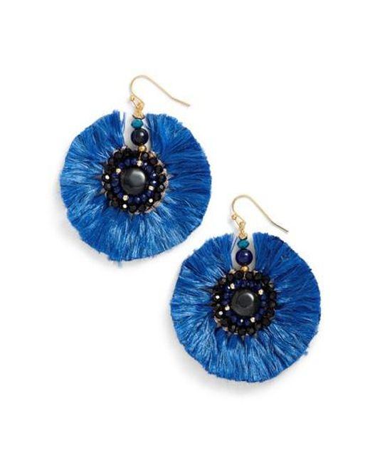 Nakamol | Blue Beaded Fan Earrings | Lyst